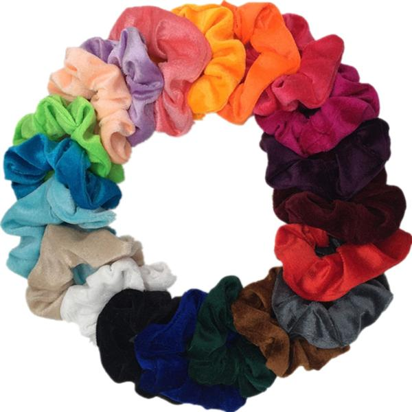 null - US $2.17  19% Off | 10 pcs/lot Soft chiffon Velvet satin Hair Scrunchie floral Grip Loop Holder Stretchy Hair band hair ties accessories leopard