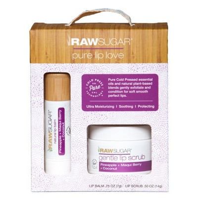 Raw Sugar  - Pineapple + Maqui Berry + Coconut Lip Balm Scrub Set