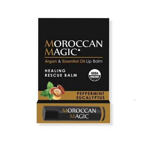 null - Moroccan Magic Organic Lip Balm - Peppermint Eucalyptus - 0.15oz