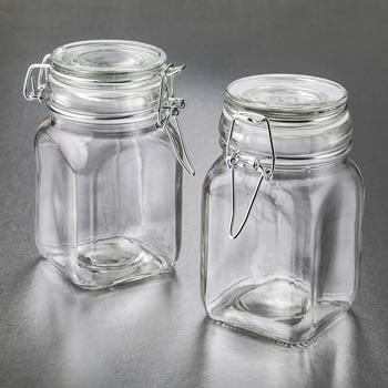 null - Perfectly plain large glass apothecary jar with hinged top