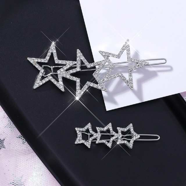 null - New Korea Shining Crystal Rhinestone Hollow Star Hairgrips For Women Fashion Jewelry Girls Hairpins Hair Clips Women Gifts