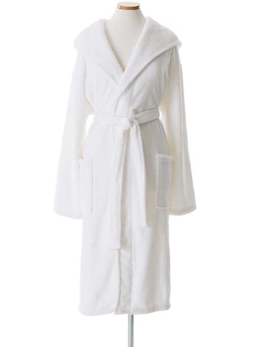 Pine Cone Hill - Selke Fleece White Hooded Robe