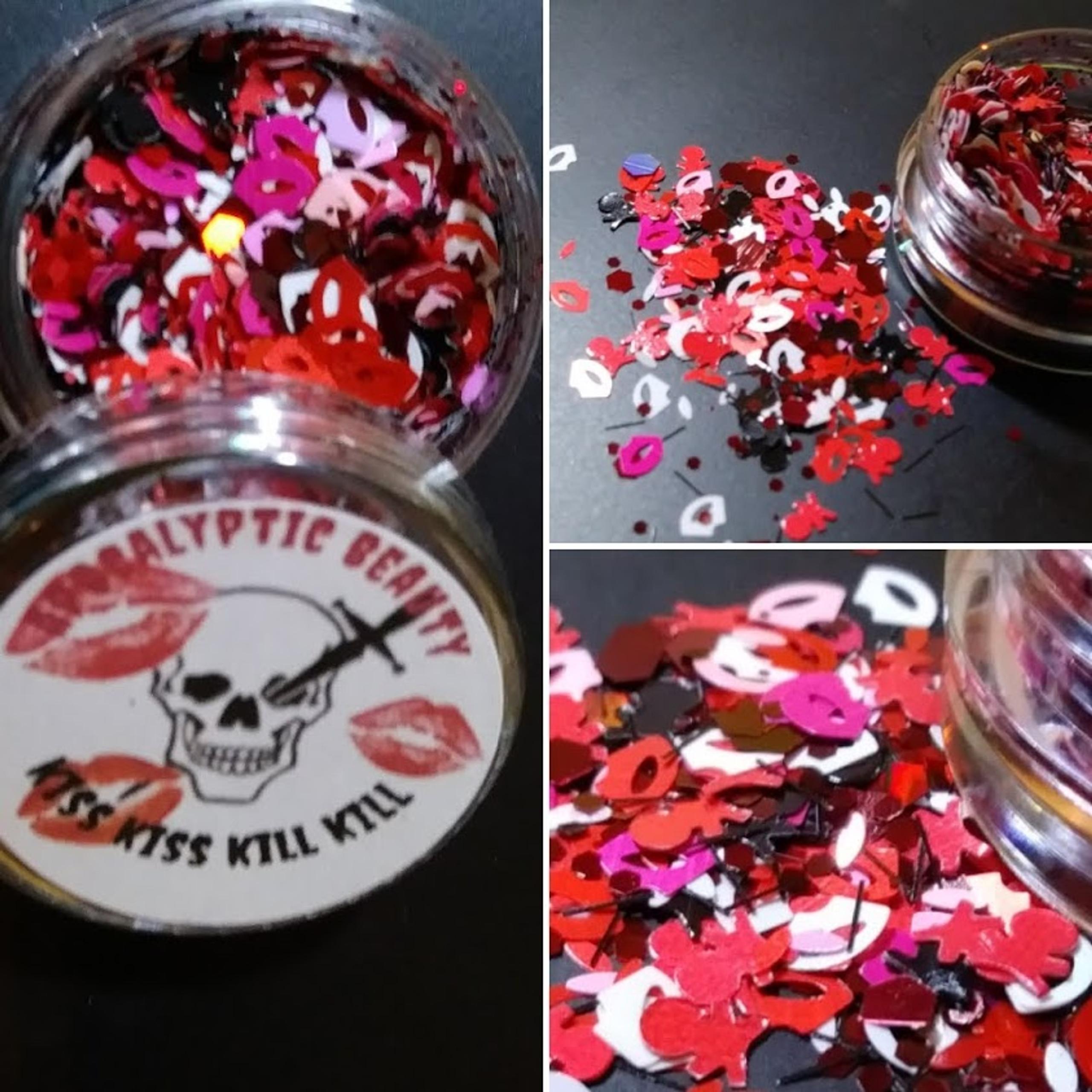 Kiss Kiss Kiss Kill Kill (LE) - kisses and skulls chunky glitter blend