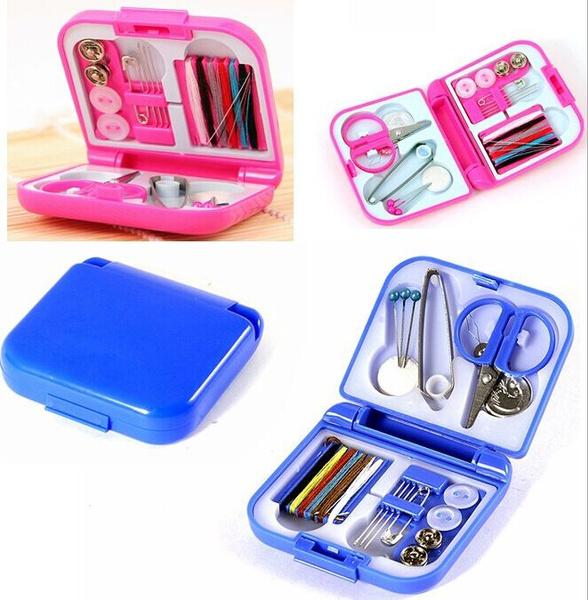 null - 1pc Portable Mini Travel Sewing Kits Box Needle Threads DIY Home Tools