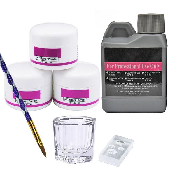 null - Nail Art Kit Acrylique Poudre 120ml Liquide Faux Ongles Astuces Brosse Moule Manucure Outils