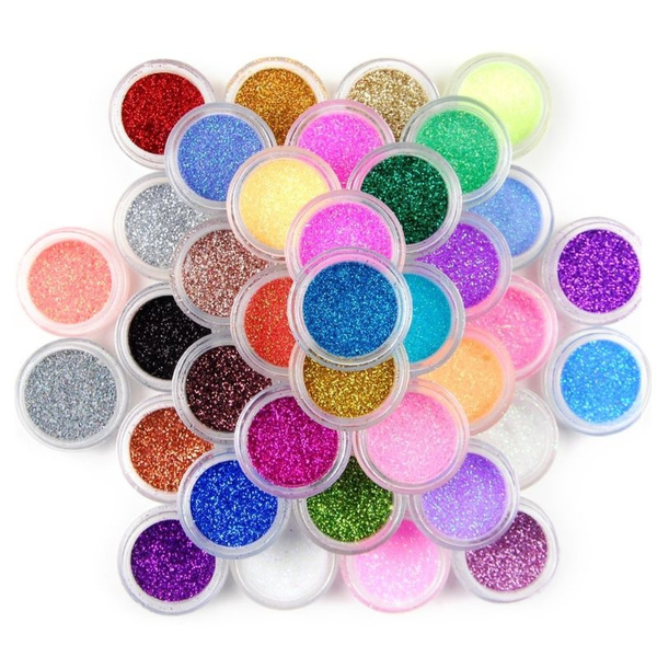 null - 45 Colors Nail Art Glitter Glossy Powder Pots Set Sequins Shining Holographic Laser Pigment Dust Manicure DIY Fingers Beauty Decor RES