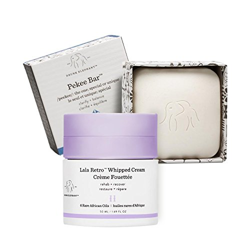 Drunk Elephant - Full Sized Clean Break Facial Duo with Pekee Cleansing Bar (4 oz) and Lala Retro Whipped Cream Facial Moisturizer (50 ml)