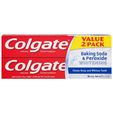 Colgate - Colgate Baking Soda and Peroxide Whitening Toothpaste, Brisk Mint - 6 Ounce (2 Pack)