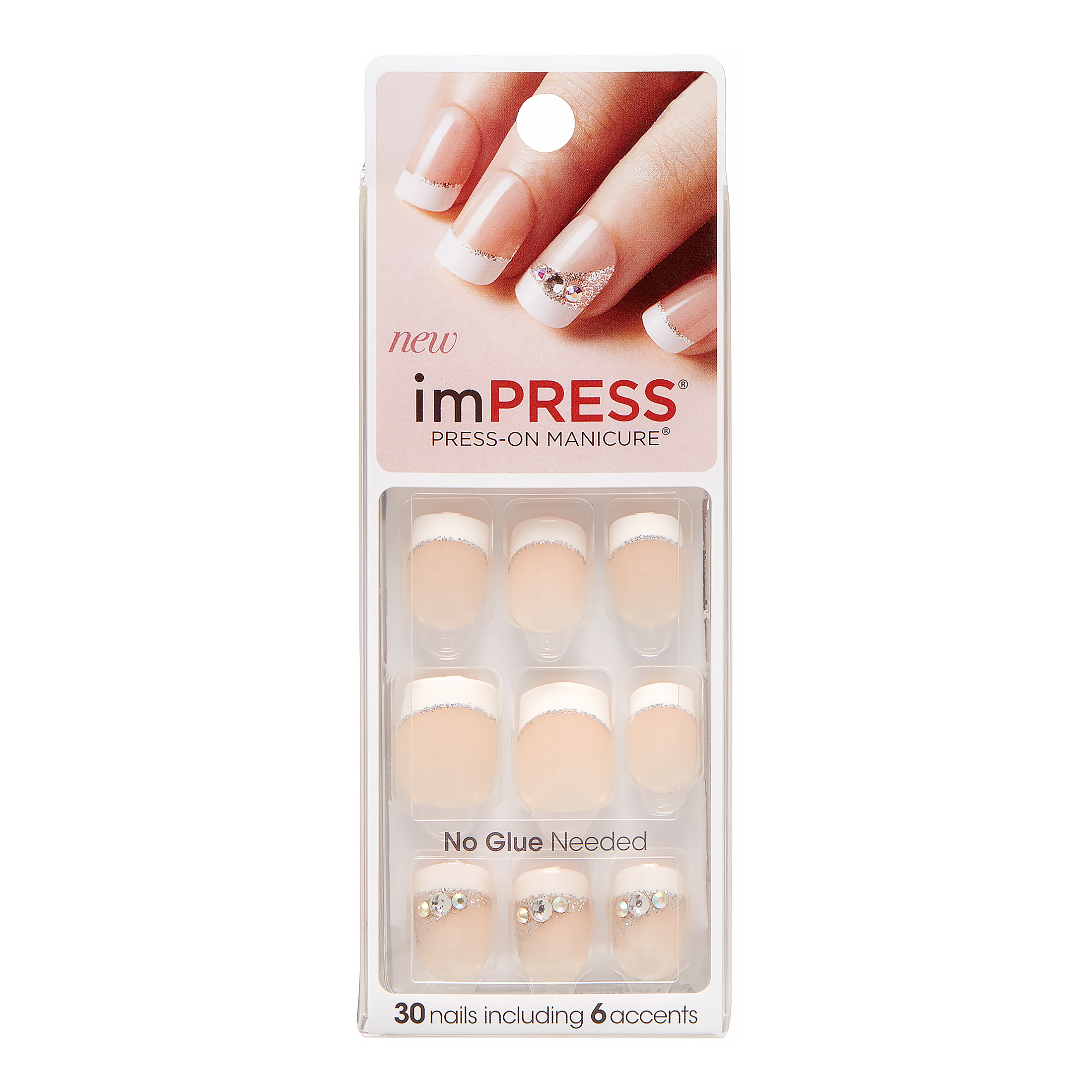 ImPRESS - ImPRESS Press-on Nails Gel Manicure - French Manicure, Queen B