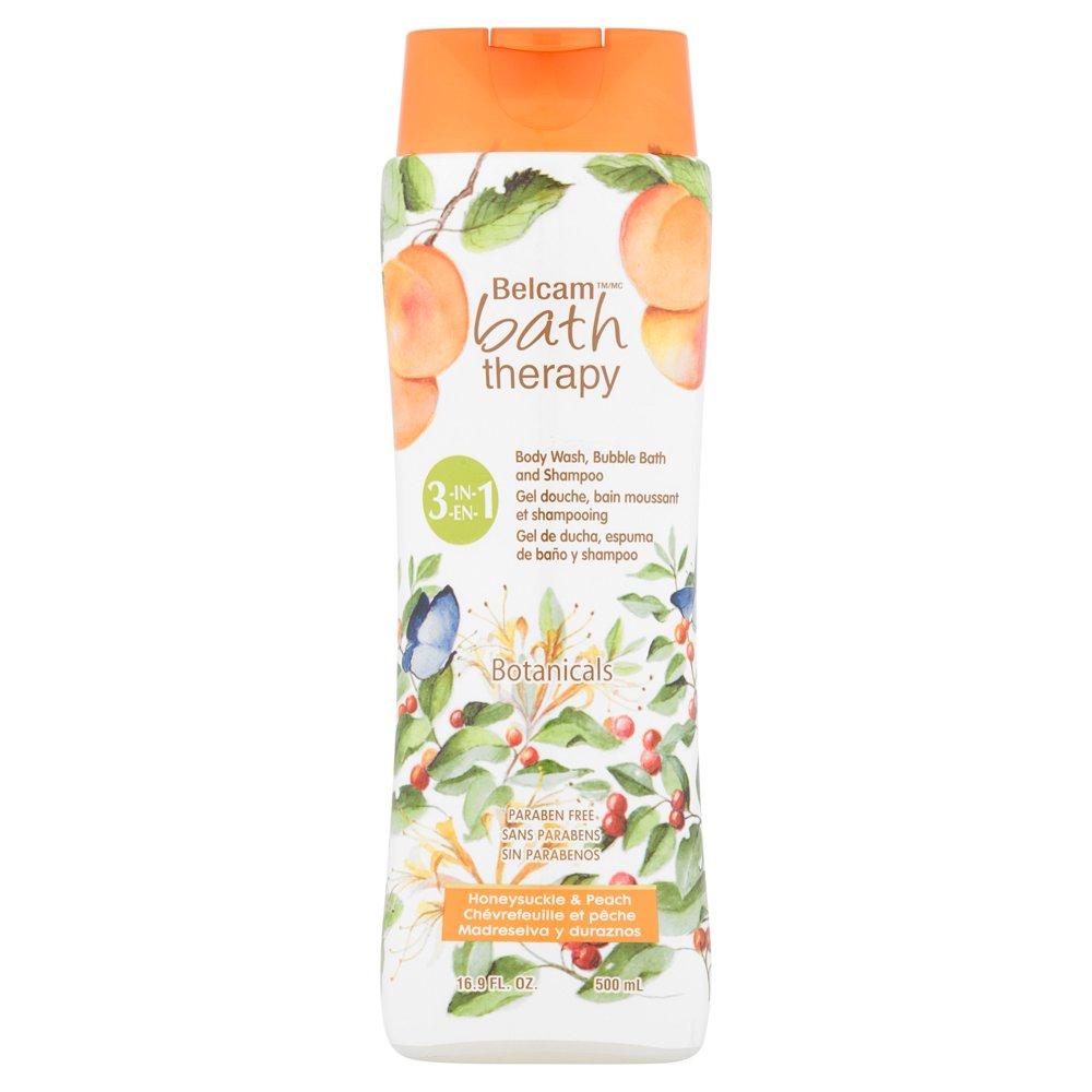 Belcam - Belcam Bath Therapy Botanicals Honeysuckle Peach 3-in-1 Body Wash, Bubble Bath & Shampoo, 16.9 fl oz