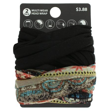 2pk Paisley/Solid Multiwear Headwrap
