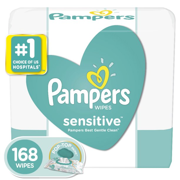 Pampers - Pampers Sensitive Baby Wipes, 3X Pop-Top Packs, 168 ct
