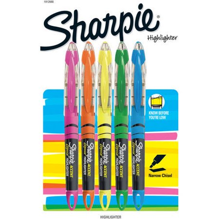 Sharpie - Sharpie Accent Liquid Highlighters, Assorted Colors, 5 Pack
