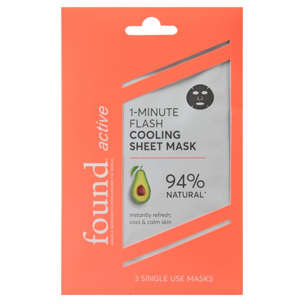 null - found Active 1-Minute Flash Cooling Sheet Mask, 3 Pack