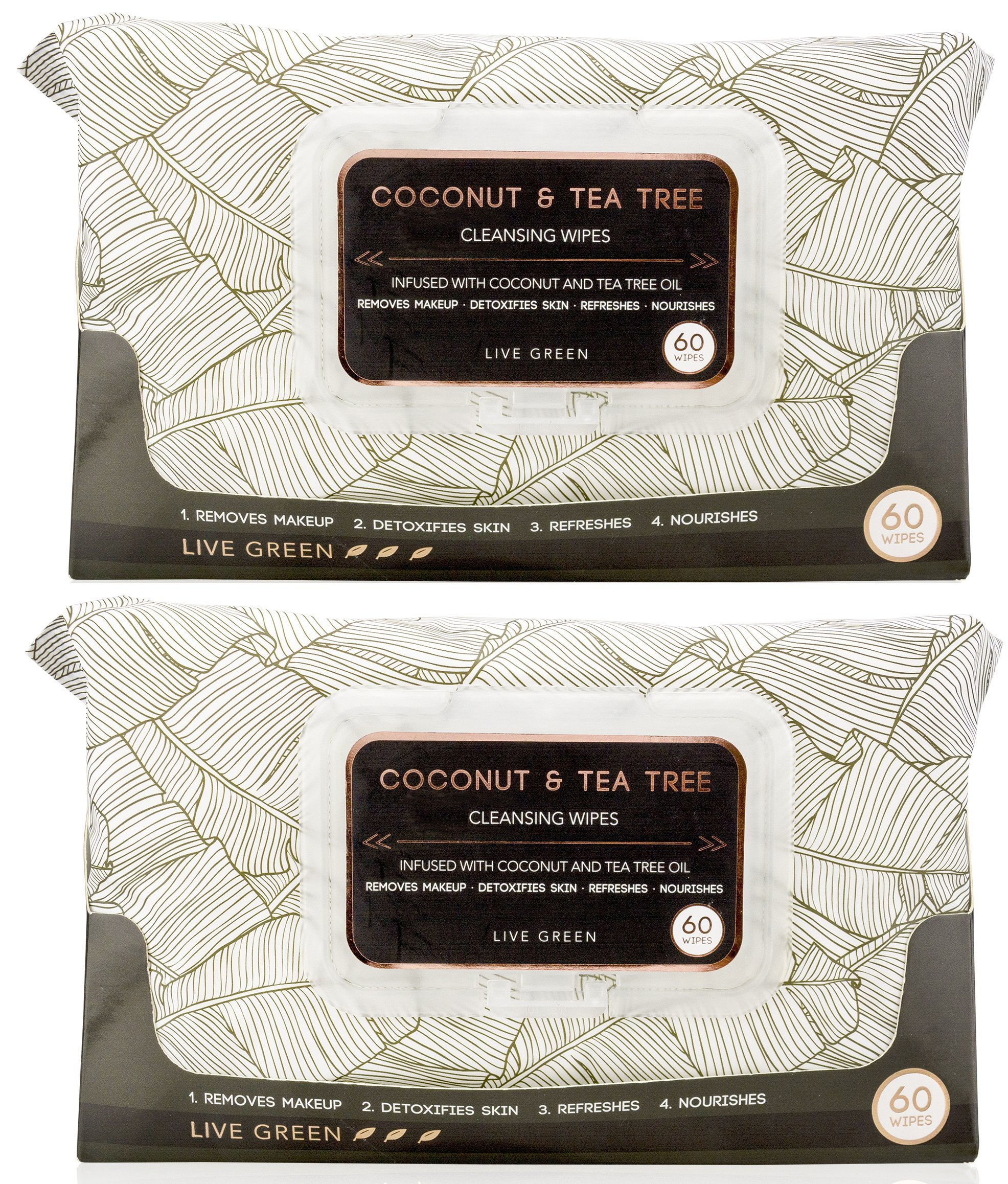 Live Green Live Green - 2 Pack (60 Count Each) Coconut and Tea Tree Oil Cleansing Wipes