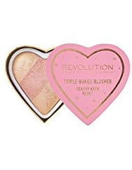 Makeup Revolution - Makeup Revolution Blushing Hearts Triple Baked Blush Blusher, Peachy Pink Kisses
