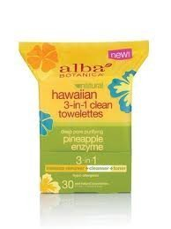 Alba Botanica - Alba Hawaiian 3-in-1 Clean Towelettes Pineapple Enzyme - 30 Towelettes by Alba