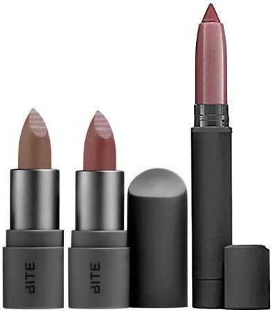 Bite Beauty - Bite Beauty Matte Creme Lip Crayon & Amuse Bouche Lipstick Travel Size, 3 Piece Set (Glace, Honeycomb, Rhubarb)