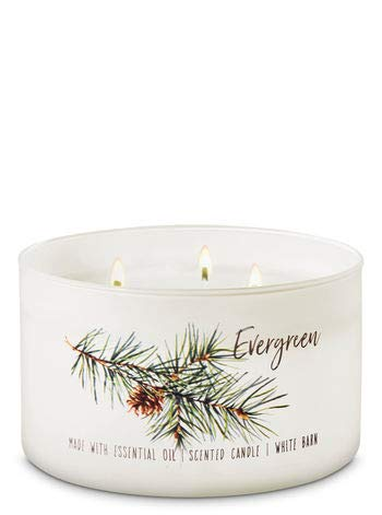 White Barn - White Barn Bath & Body Works 3 Wick Candle Evergreen Low Profile