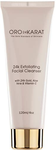 ORO24KARAT - 24K Exfoliating Facial Cleanser Daily Care Anti-Aging Microdermabrasion Anti-Wrinkle Reduce Fine Lines Minimize Age Spots Rich with Vitamins C and E Made with 24k Gold Made in the USA (4oz)
