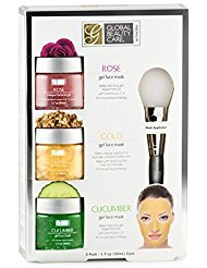 Global Beauty Care Premium - Rose, Gold, Cucumber Gel Face Mask with Applicator