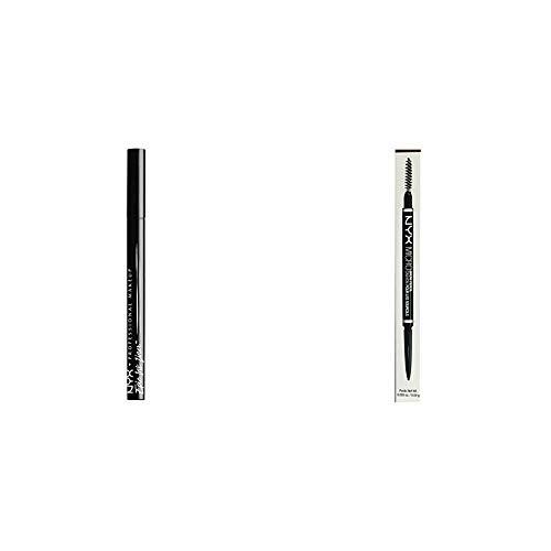 NYX PROFESSIONAL MAKEUP NYX PROFESSIONAL MAKEUP Epic Ink Eyeliner Black Bundle with Micro Brow Eyebrow Pencil Ash Brown (2 Items)