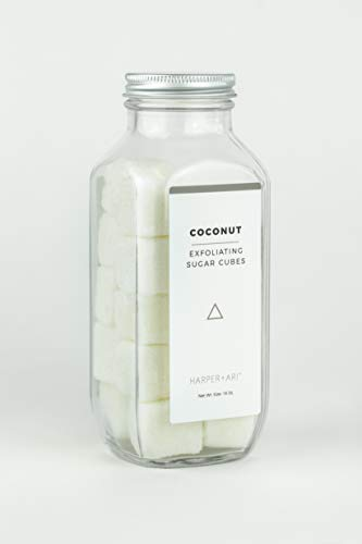Harper + Ari - Exfoliating Sugar Cubes, Glass Jar, Coconut