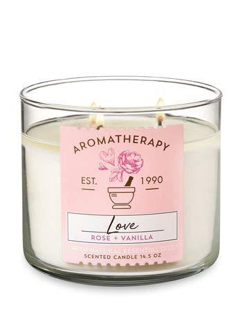 Bath & Body Works - 3-Wick Aromatherapy Candle, Love, Rose & Vanilla