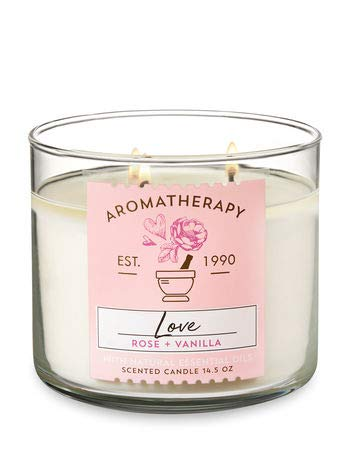 Bath & Body Works - 3-Wick Aromatherapy Candle, Love, Rose & Vanilla