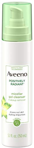 Aveeno - Aveeno Positively Radiant Hydrating Micellar Gel Facial Cleanser with Moisture Rich Soy & Kiwi Complex, Hypoallergenic 5.1 oz