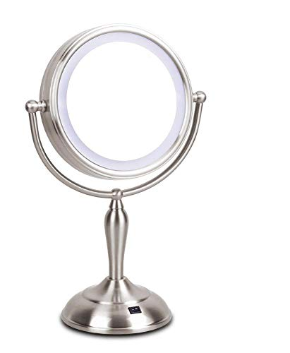 MIRRORMORE - LED Makeup Mirror - 7.5 Inch Lighted Vanity Mirror, 1x/10x Magnifying Double Sided Mirror With Stand, AC Adapter Or Battery Operated, Natural White Light, Cord Or Cordless