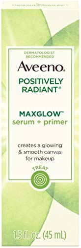 Aveeno - Aveeno Positively Radiant MaxGlow Hydrating Face Serum + Primer with Moisture Rich Soy & Kiwi Complex 1.5 oz