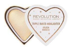 makeup revolution - Makeup Revolution Blushing Hearts Triple Baked Highlighter, Golden Goddess
