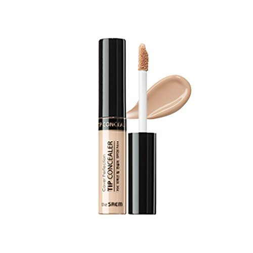 THESAEM - [the SAEM] Cover Perfection Tip Concealer SPF28 PA++ 6.5g #1.25 Light Beige - - High Adhesive Concealer without Clumping and Cracking, Covers Blemishes, Freckles and Dark Circles