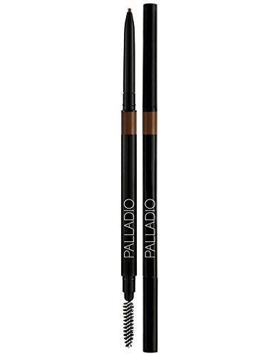 Palladio - Palladio Beauty Brow Definer Pencil, Medium Brown, Ultra Precise Twist-Up Eye Brow Pencil with Long-Staying Power, Spooley Brush Blends Color for Natural Finish, No Eyebrow Pencil Sharpener Required