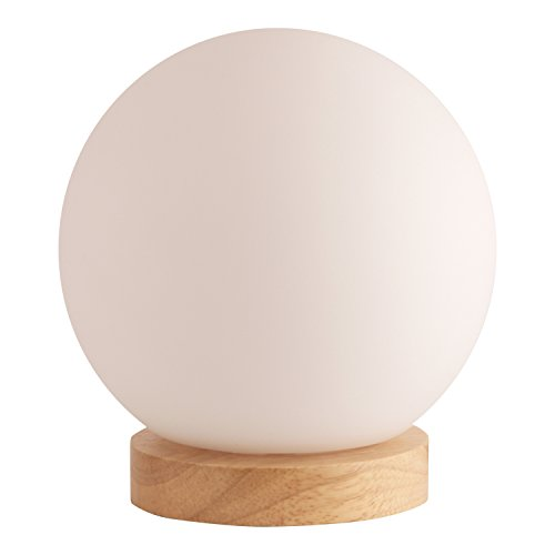 Lightaccents - Light Accents Iris Table Lamp Natural Wooden Base with Round Glass Shade