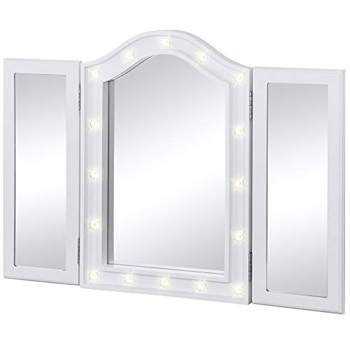 Best Choice Products - Best Choice Products Lighted Tabletop Tri-Fold Vanity Mirror W/LED Lights