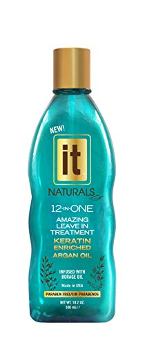 Freeze It - IT Naturals 12-in-ONE Amazing Leave In Treatment with Argan Oil | Infused with Keratin Proteins, Humidity Resistant, UV Protection, Remove Tangles, Color Safe | Paraben Free, 10.2oz