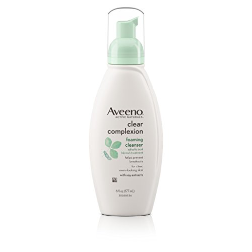 Aveeno Aveeno Clear Complexion Foaming Oil-Free Facial Cleanser with Salicylic Acid for Breakout Prone Skin, Face Wash with Soy Extracts, Hypoallergenic and Non-Comedogenic, 6 fl. oz