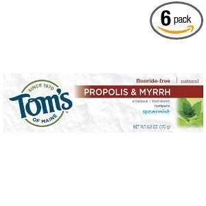 Tom's of Maine - Tom's of Maine Propolis & Myrrh Natural Fluoride Free Toothpaste, Spearmint 5.5 oz (155 g) (Pack of 6)