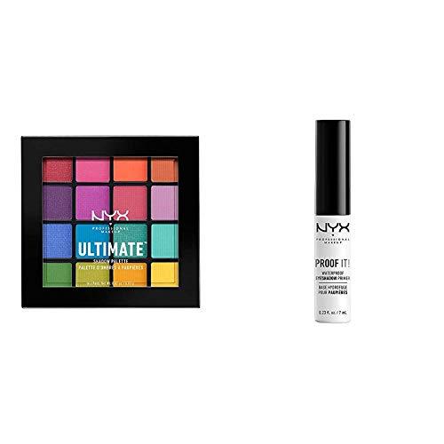 NYX PROFESSIONAL MAKEUP - NYX PROFESSIONAL MAKEUP Make Up Ultimate Eyeshadow Palette Brights Bundle with Proof It! Waterproof Eyeshadow Primer (2 Items)