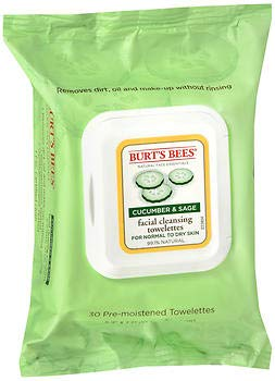 Burt's Bees Burts Facial Towlettes Cucumber and Sage Cleasing Facial Towel 30 cnt (2-Pack)