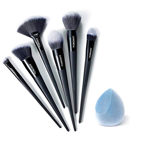 JUNO & Co. - JUNO & Co. Microfiber Velvet Sponge, Latex-Free, Dual Layer Technology, Flawless Makeup Blender for Foundations, Powders and Creams (Velvet Sponge & Essential Brush Bundle)