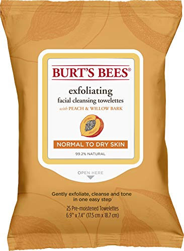 Burt's Bees - Facial Cleansing Towelettes, Peach & Willow Bark Exfoliating