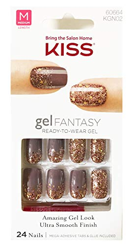 "Kiss - Kiss Nails GEL FANTASY""KGN02"" (Rock Candy) Medium Length Design Nails w/Adhesive Tabs & Glue"