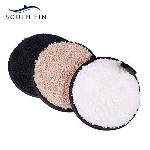 Bluezoo - SOUTH FIN Reusable Makeup Remover Pads Eye Cotton Pad Cleaning Wipe Puff - Chemical Free Washable Soft Facial and Skin Care Cleaning Cotton Pads (3 Pack)