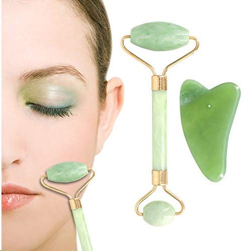 imoocare - Anti aging Natural Jade Roller for Face and Gua Sha Massage Tool Set, Anti Wrinkles