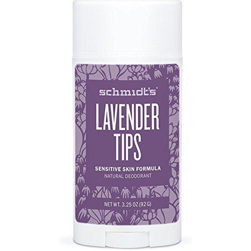 Schmidt's Deodorant - Schmidt's Natural Deodorant for Sensitive Skin - Lavender Tips, 3.25 ounces. Stick for Women and Men