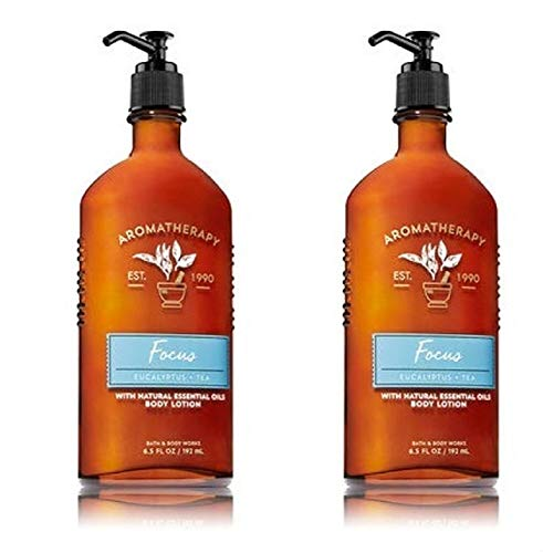 BATH & BODY WORK - Bath and Body Works 2 Pack Focus Aromatherapy Essential Oil Body Lotion 6.5 Oz.Eucalyptus & Tea.