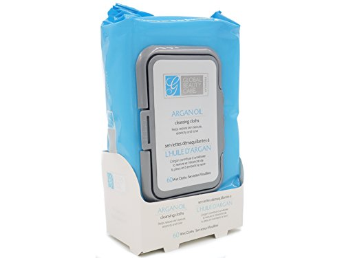 Global Beauty Care Premium - Argan Oil Cleansing Cloths and Makeup Removal Wipes 60 Ct.